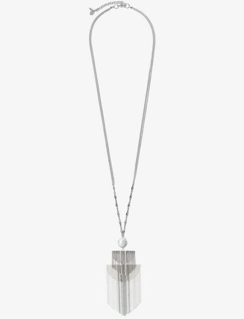 FRINGE SILVER LONG NECKLACE, SILVER