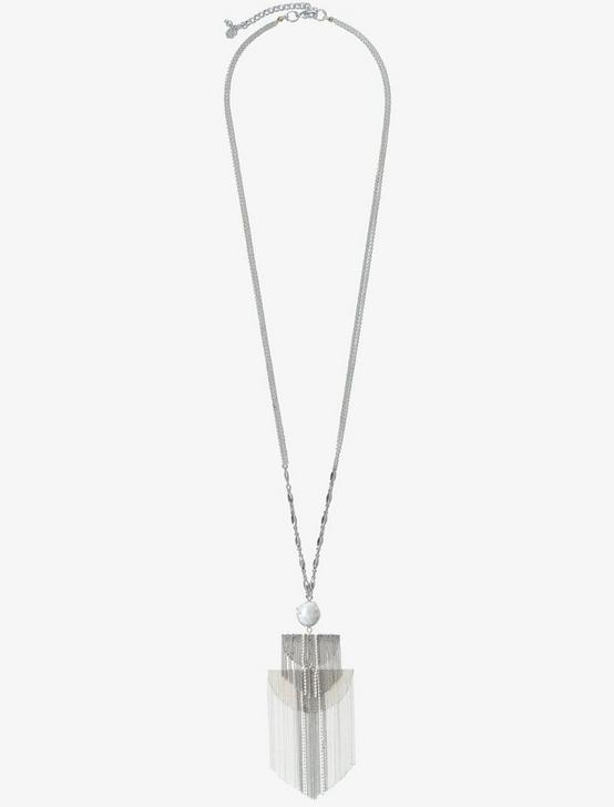 FRINGE SILVER LONG NECKLACE, SILVER, productTileDesktop