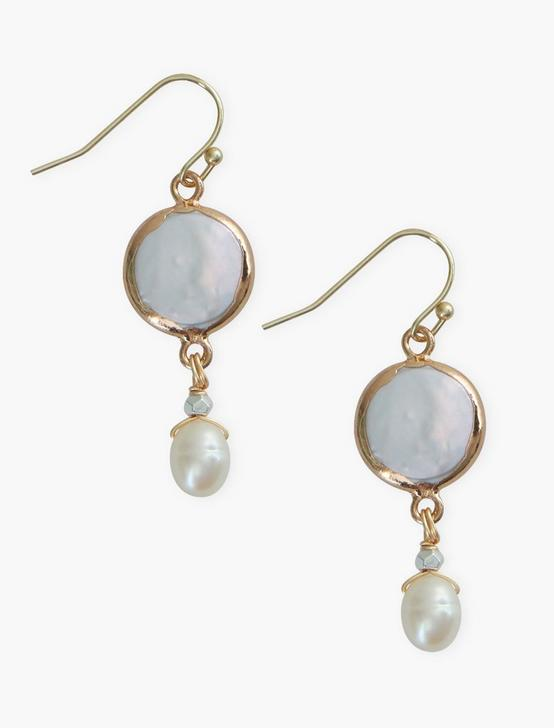 PEARL DROP EARRING, GOLD, productTileDesktop