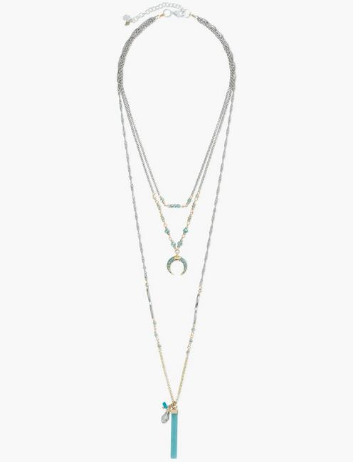 LAYER HALF MOON NECKLACE, TWO TONE