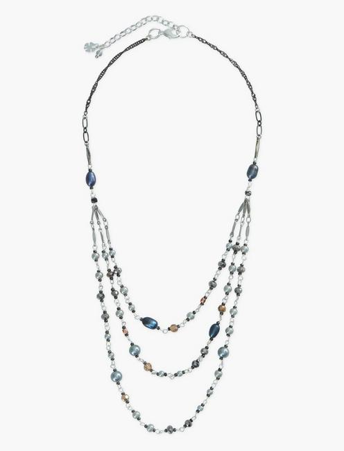 LAYER BEADED NECKLACE, SILVER