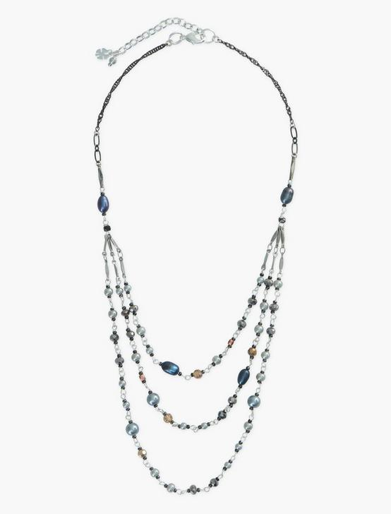LAYER BEADED NECKLACE, SILVER, productTileDesktop