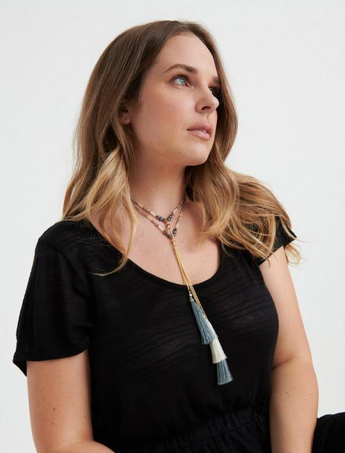 TASSEL Y NECKLACE, TWO TONE