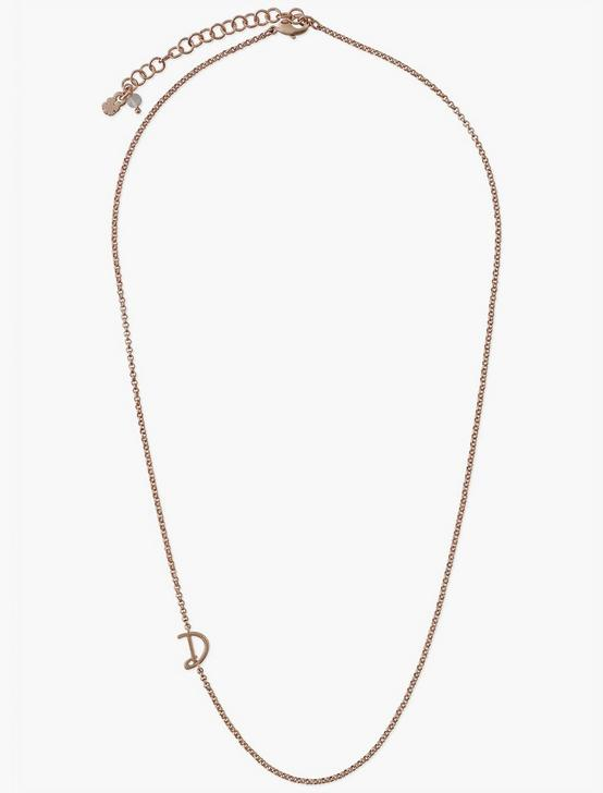 LETTER D NECKLACE, ROSE GOLD, productTileDesktop