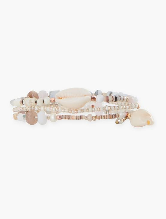 SHELL WRAP BRACELET, TWO TONE, productTileDesktop