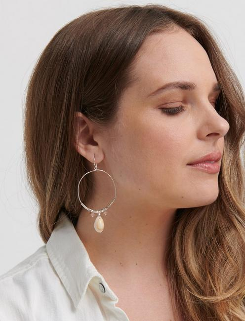 SHELL HOOPS, SILVER