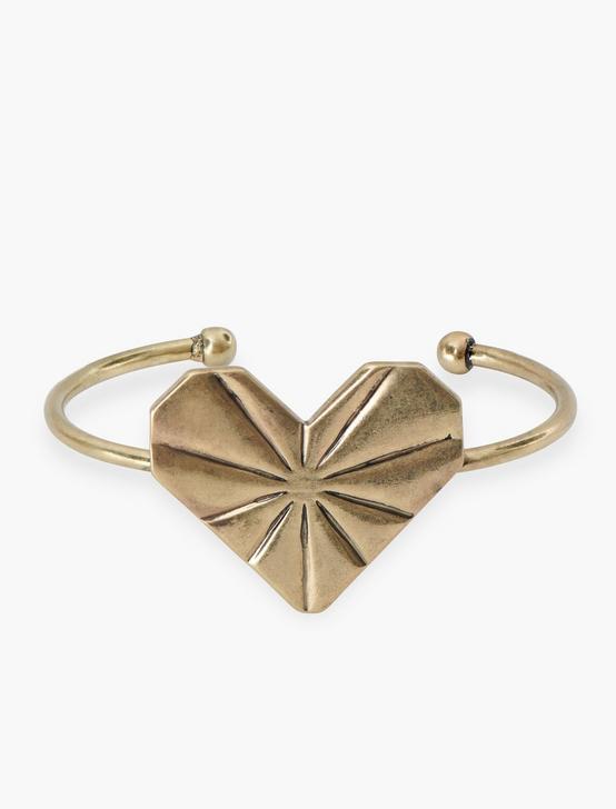 Organic Heart Cuff, GOLD, productTileDesktop