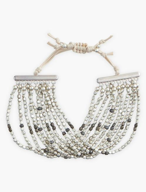 Multi Strand Silver Beaded Bracelet,