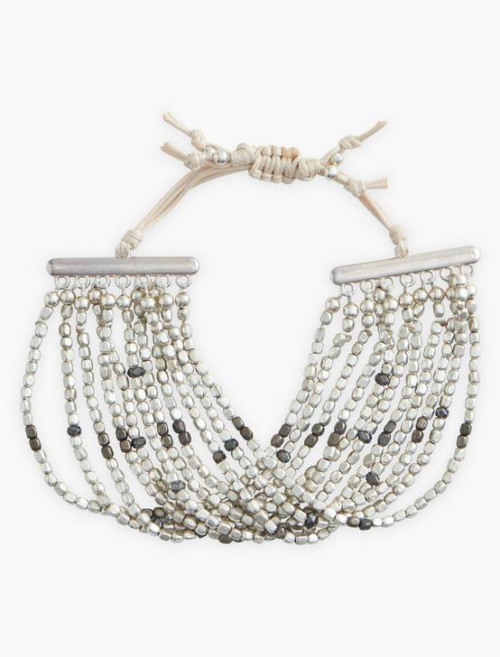 Multi Strand Silver Beaded Bracelet, SILVER, productTileDesktop