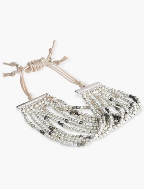 Multi Strand Silver Beaded Bracelet, SILVER