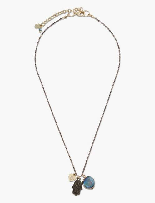 Hamsa and Abalone Charm Necklace,