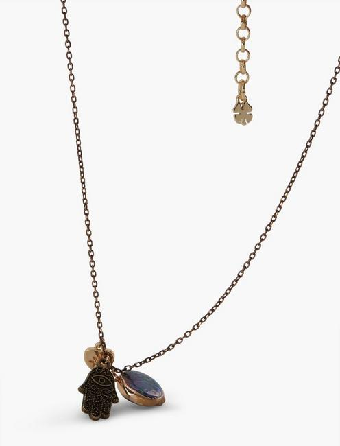 Hamsa and Abalone Charm Necklace, GOLD