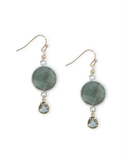 LABRADORITE DROP EARRING, GOLD