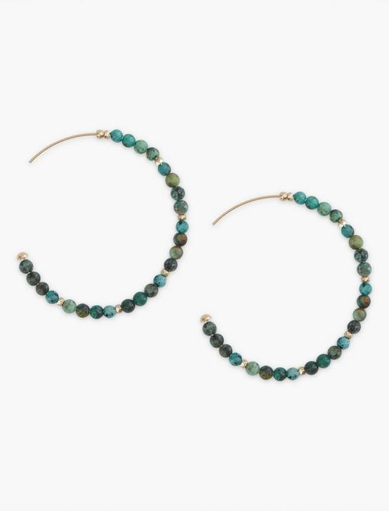 Turquoise Beaded Hoop Earring, SILVER, productTileDesktop