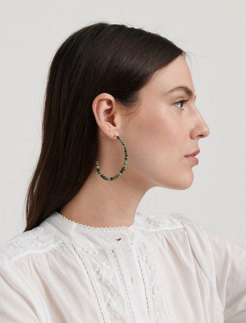 Turquoise Beaded Hoop Earring, SILVER