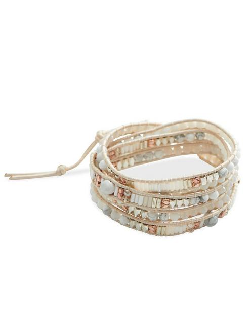 Beaded Wrap Bracelet, TWO TONE
