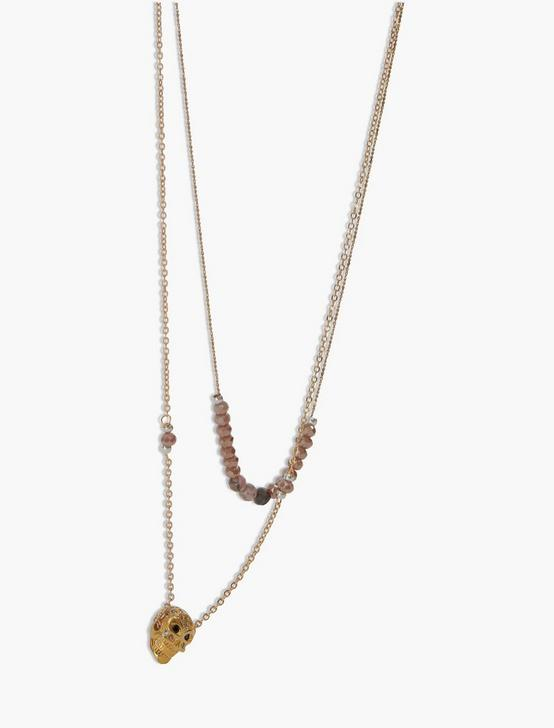 SKULL LAYER NECKLACE, GOLD, productTileDesktop