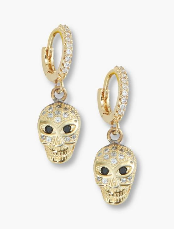 SKULL DROP EARRING, GOLD, productTileDesktop