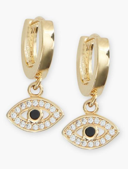 Pave Evil Eye Earrings, GOLD