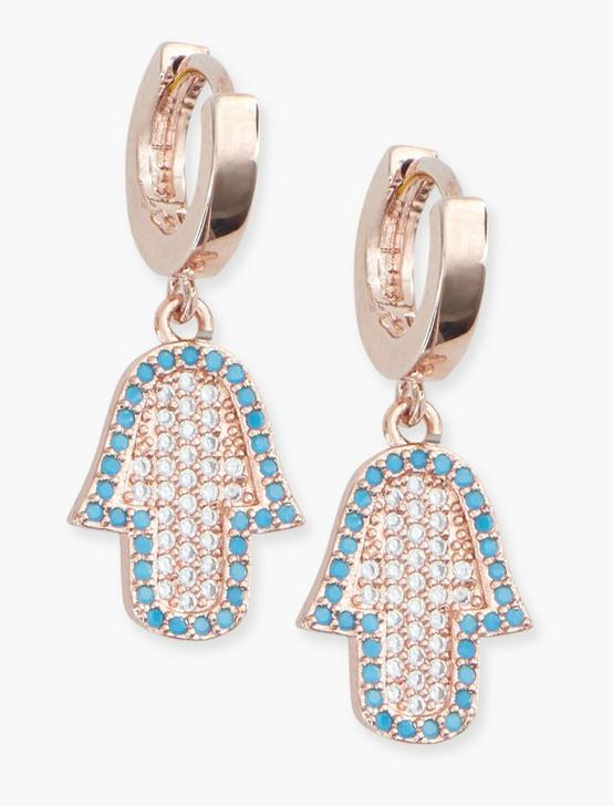 HAMSA DROP ROSE GOLD EARRINGS, GOLD, productTileDesktop