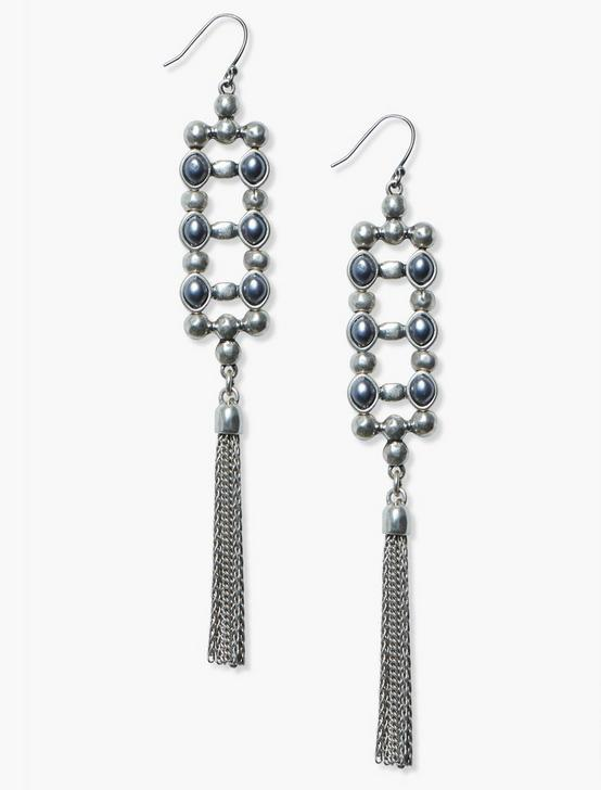 LADDER FRINGE EARRING, SILVER, productTileDesktop