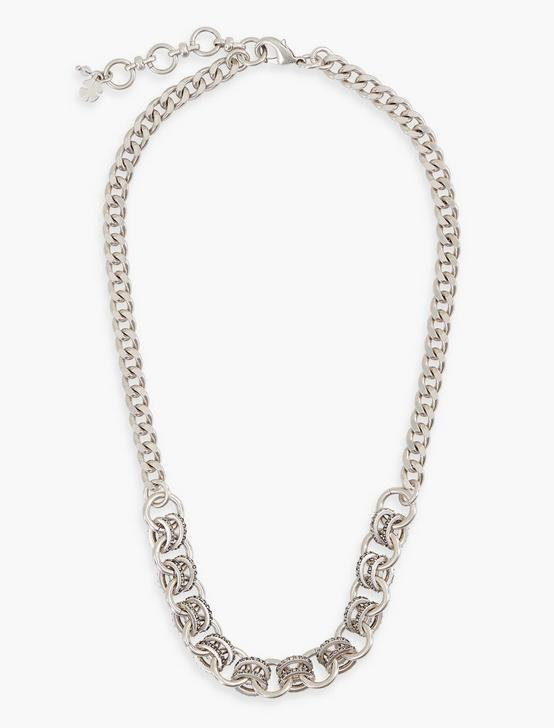 PAVE CHAIN NECKLACE, SILVER, productTileDesktop