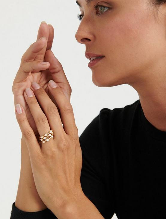 Mother of Pearl Ring Stack, GOLD, productTileDesktop