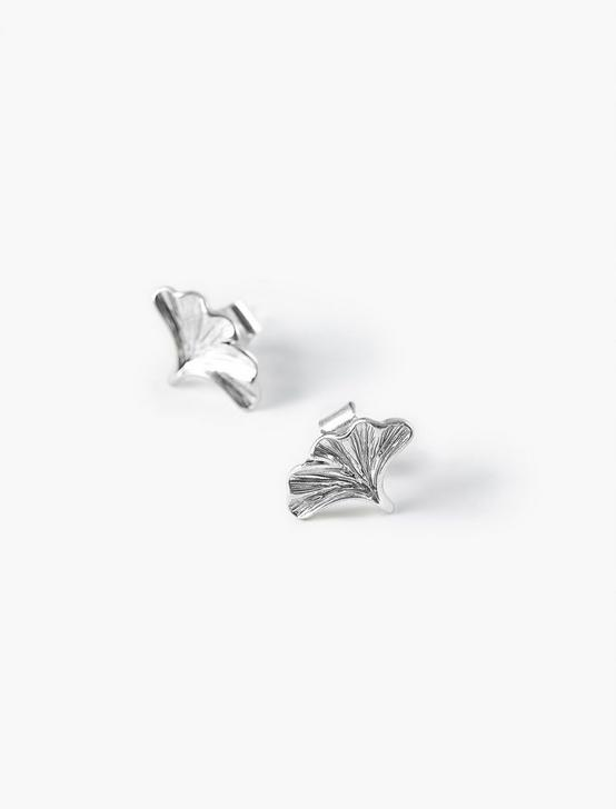 GINKGO STUD EARRINGS, SILVER, productTileDesktop