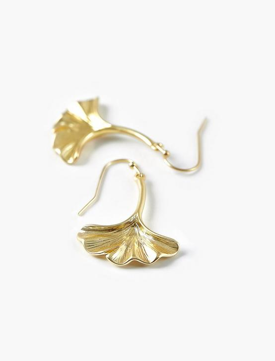 GINKGO DROP EARRINGS, GOLD, productTileDesktop