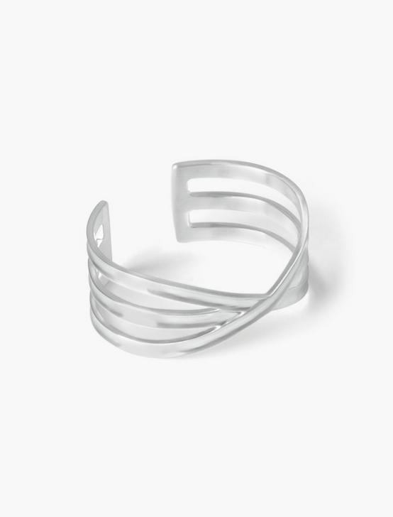 CRISS CROSS CUFF, SILVER, productTileDesktop