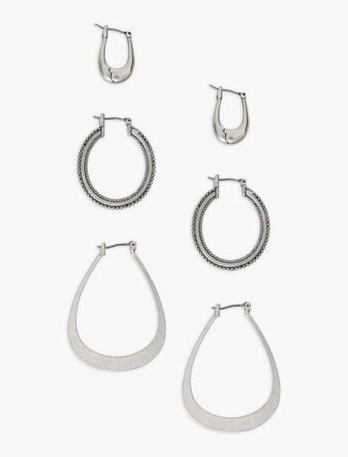 SILVER TRIO EARRING SET, SILVER