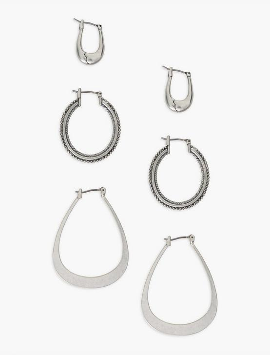 SILVER TRIO EARRING SET, SILVER, productTileDesktop