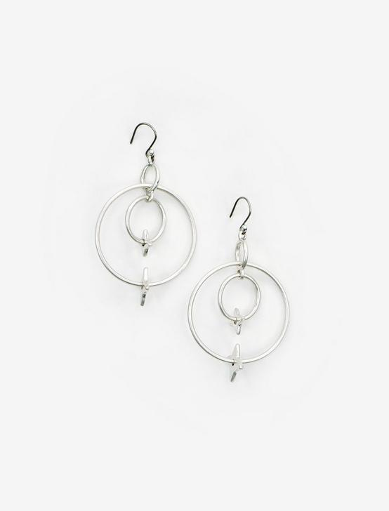 SILVER STAR DOUBLE HOOP EARRINGS, SILVER, productTileDesktop