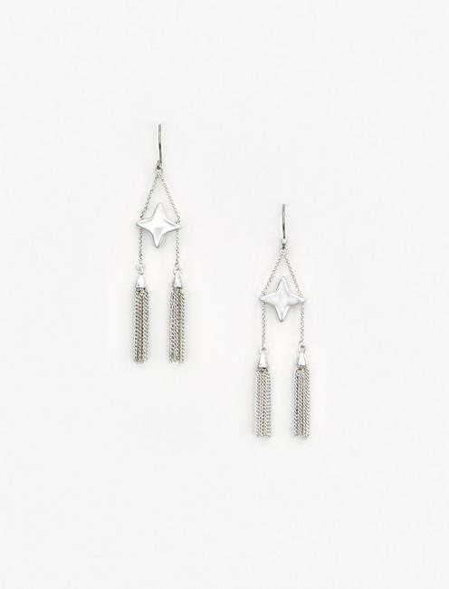 STAR AND TASSLE EARRING, SILVER