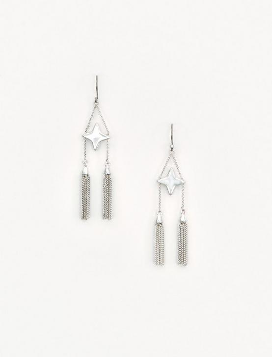 STAR AND TASSLE EARRING, SILVER, productTileDesktop
