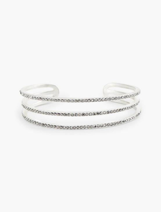 PAVE THREE LAYERED CUFF, SILVER, productTileDesktop