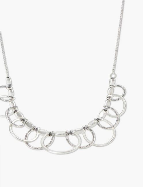 SILVER PAVE NECKLACE, SILVER