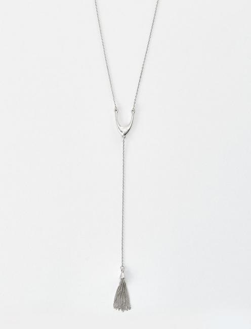 SILVER TASSLE Y NECKLACE, SILVER