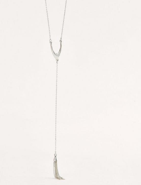 SILVER TASSLE Y NECKLACE, SILVER, productTileDesktop
