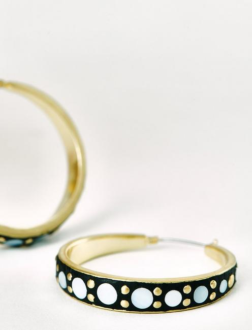 GOLD AND MOP INLAY HOOPS, GOLD