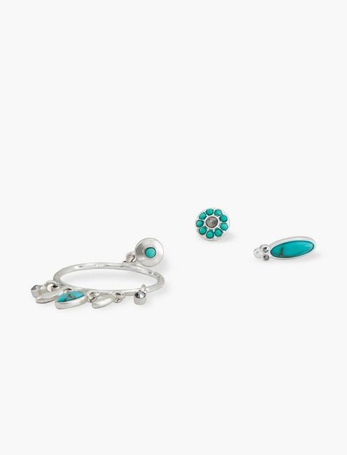 Turquoise Earring Set, SILVER