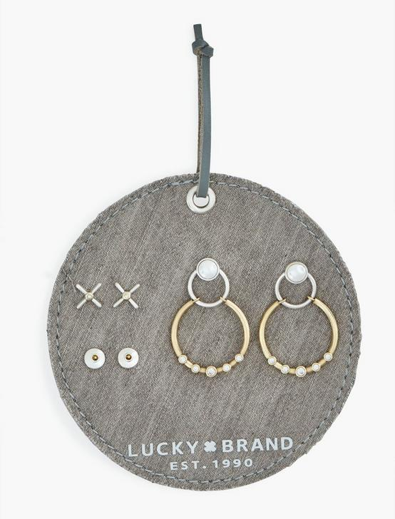 TTONE 3PIECE XO EARRING SET, TWO TONE, productTileDesktop