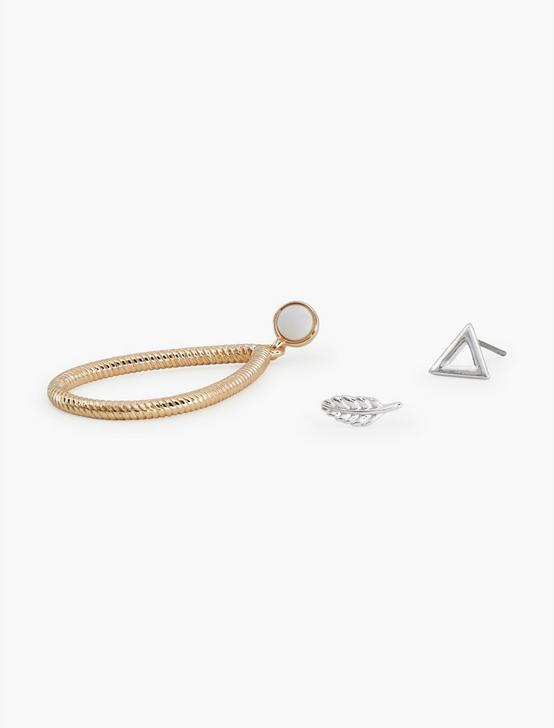 TTONE 3PIECE TRIANGLE EARRING SET, TWO TONE, productTileDesktop