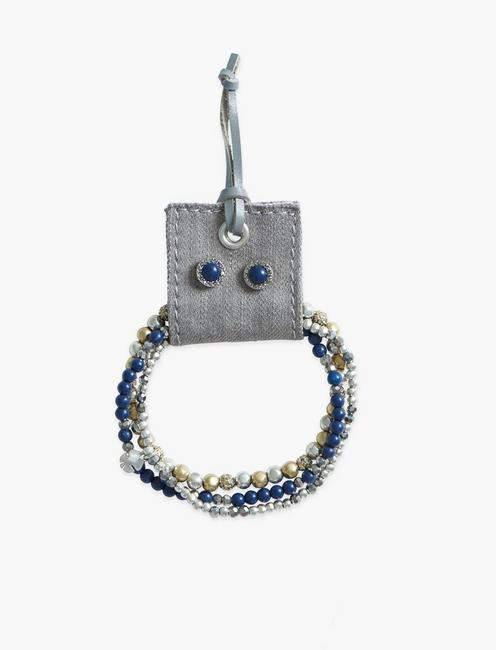 Lapis Beaded Bracelet and Earring Set,
