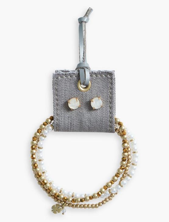 Gold Beaded Bracelet and Earring Set, GOLD, productTileDesktop