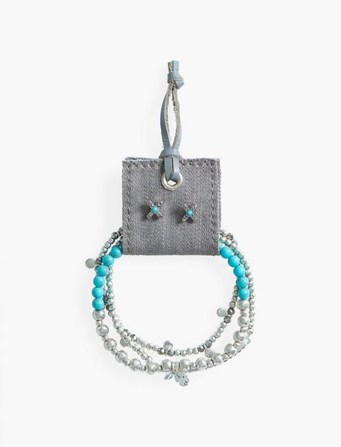 Turquoise Bracelet and Earring Set, SILVER