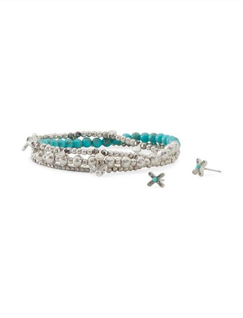 TURQ BEADED BRACELET AND X EARRING SET, SILVER