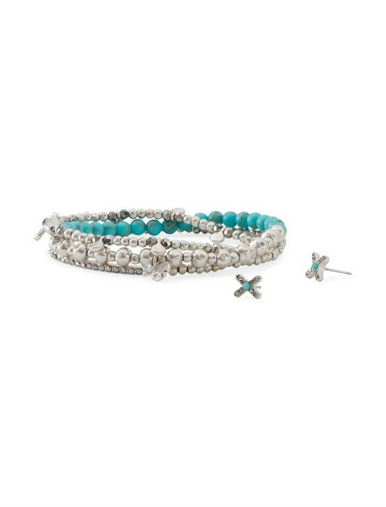 Turquoise Bracelet and Earring Set, SILVER, productTileDesktop