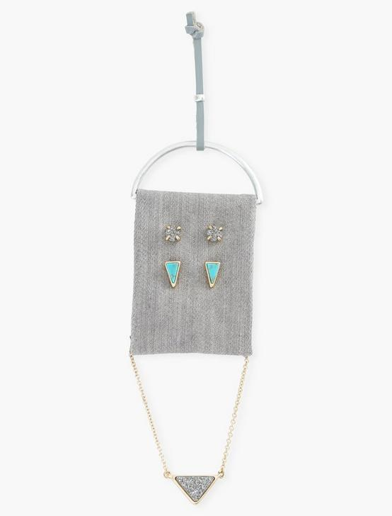 Triangle Turq Necklace And Stud Set