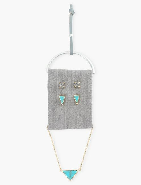 TRIANGLE TURQ NECKLACE AND STUD SET, TWO TONE